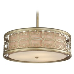 Elk Lighting Santa Monica Aged Silver Pendant Light with Drum Shade