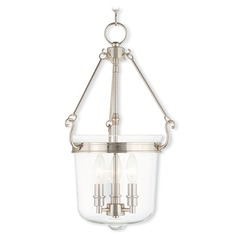 Livex Lighting Rockford Polished Nickel Pendant Light with Bowl / Dome Shade