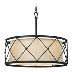 Troy Lighting Palisade Aged Pewter Pendant Light with Drum Shade