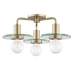 Mid-Century Modern Brass Semi-Flush Ceiling Light Mitzi by Hudson Valley