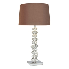 Modern Table Lamp with Brown Shade in Chrome Finish