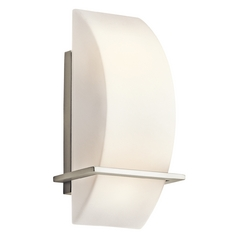 Kichler Lighting Kichler Modern Sconce Light with White Glass in Brushed Nickel Finish 45217NI