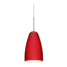 Modern Pendant Light with Red Glass in Satin Nickel Finish