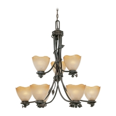 Chandelier with Beige / Cream Glass in Old Bronze Finish