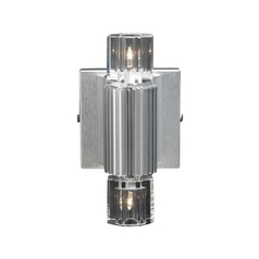 Modern Sconce Wall Light with Clear Glass in Aluminum Finish