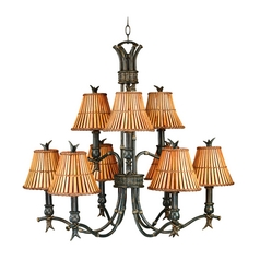 Chandelier with Brown Bamboo Shades in Bronze Heritage Finish