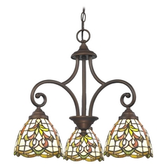Mini-Chandelier with Multi-Color Glass in Bronze Finish