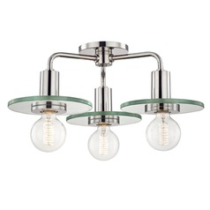 Mid-Century Modern Semi-Flush Ceiling Light Polished Nickel Mitzi by Hudson Valley