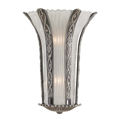 Sconce Wall Light with White Glass in Platinum Finish