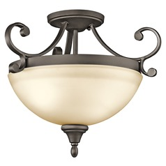 Kichler Semi-Flushmount Light with Amber Glass in Olde Bronze Finish