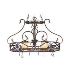 Lighted Pot Rack with Amber Glass in Aged Golden Copper Finish