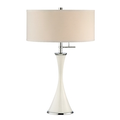 Three-Way Hourglass Table Lamp in Gloss White Finish and Drum Shade