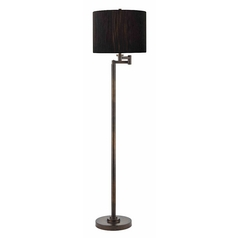 Swing Arm Lamp with Black Shade in Bronze Finish