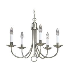 Satin nickel chandeliers destination lighting progress chandelier in brushed nickel finish aloadofball Image collections