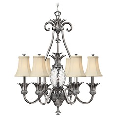 7-Light Tropical Chandelier with Beige/Cream Shade in Polished Antique Nickel