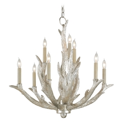 Currey And Company 2-Tier 9-Light Chandelier in Silver Granello
