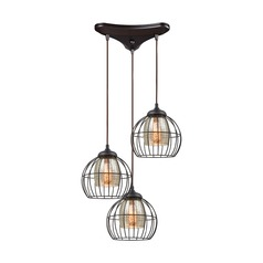 Elk Lighting Yardley Oil Rubbed Bronze Multi-Light Pendant with Bowl / Dome Shade