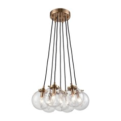 Satin Brass Multi-Light Pendant with 7 Lights