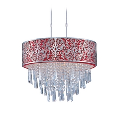 Maxim Lighting Drum Pendant Light with Red Shade in Satin Nickel Finish 22295RDSN