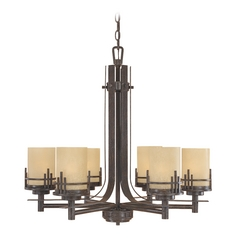Chandelier with Beige / Cream Glass in Warm Mahogany Finish