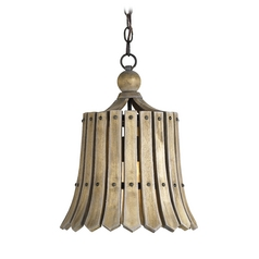 Pendant Light with Brown Tones Cork Shade in Old Iron/natural Ash Finish
