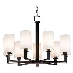 Modern Chandelier with White Shades in Old Bronze Finish
