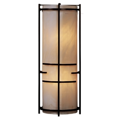 Modern Sconce Wall Light with Art Glass in Bronze Finish