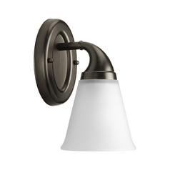 Progress Sconce Wall Light with White Glass in Venetian Bronze Finish