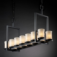 Justice Design Group Veneto Luce Collection Matte Black Island Light with Cylindrical Shade