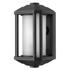 Outdoor Wall Light with White Glass in Black Finish