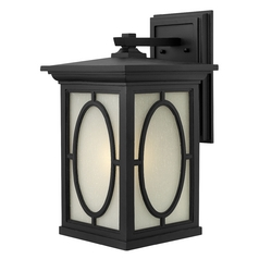 LED Outdoor Wall Light with Etched Glass in Black Finish