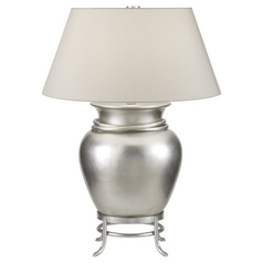Fine Art Lamps Recollections Platinized Silver Leaf Table Lamp with Empire Shade