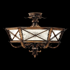 Fine Art Lamps Newport Burnished Gold with Silver Highlights Semi-Flushmount Light