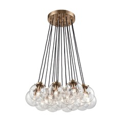 Satin Brass Multi-Light Pendant with 17 Globe Lights