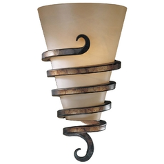 Sconce with Beige / Cream Glass in Tofino Bronze Finish