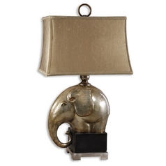 Table Lamp with Beige / Cream Shade in Antique Champagne Finish