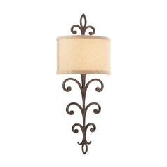 Sconce Wall Light with White Shade in Cottage Bronze Finish