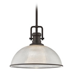 Industrial Prismatic Pendant Light Bronze Finish  13.13-Inch Wide