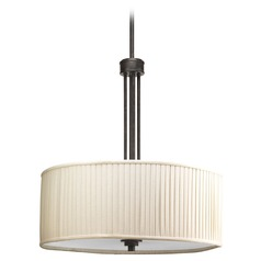 Progress Pleated Drum Pendant Light in Espresso Finish