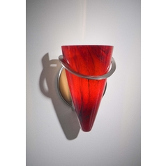 Holtkoetter Modern Sconce Wall Light with Red Glass in Satin Nickel Finish