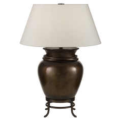 Fine Art Lamps Recollections Antiqued, Gold-Stained Silver Leaf Table Lamp with Drum Shade
