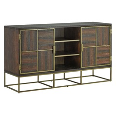 Currey and Company Holden Walnut / Leather / Antique Brass Entertainment Center