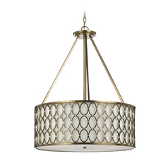 AF Lighting Satin Brass Pendant Light with Drum Shade