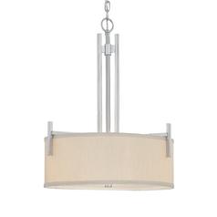 Three-Light Pendant with Beige Fabric Shade