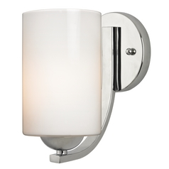 Modern Chrome Wall Sconce with Opal White Cylinder Glass Shade