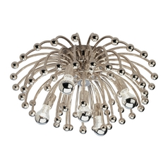 Mid-Century Modern Flushmount Light Polished Nickel Anemone by Robert Abbey