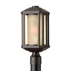 Post Light with Amber Glass in Bronze Finish