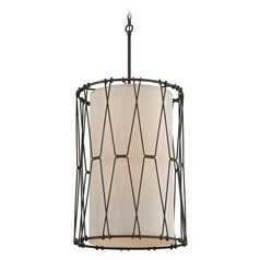 Troy Lighting Buxton Vintage Bronze Pendant Light with Cylindrical Shade