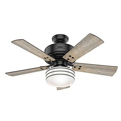 Hunter 44-Inch Matte Black LED Ceiling Fan with Light with Hand-Held Remote
