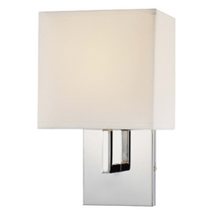 Modern Wall Lamp with White Shade in Chrome Finish